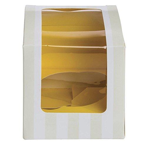 Cupcake Box With Insert Holds 1 YellowWhite Striped 100Cs