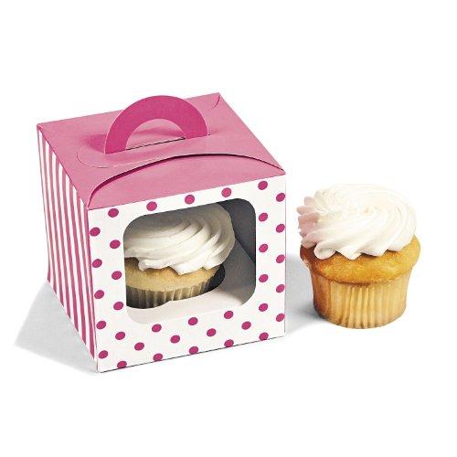 1 X Candy Pink Polka Dot Cupcake Boxes 12 pc