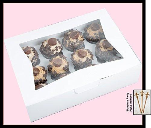 Cupcake Box holds 12 PACK of 10 14x10x4 White Window BakeryCake Box and Inserts w Signature Picks