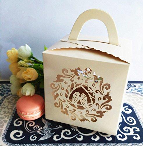 KAZIPA 12PCS Single Cupcake Boxes with Cupcake Inserts 39x39x39 Laser Cut Bird Gift Box for Regular Cupcake LED Candles AppleIvory