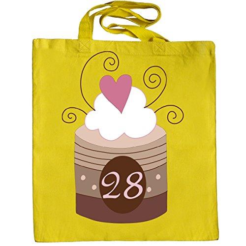 Inktastic 28th Birthday Cupcake Tote Bag Yellow
