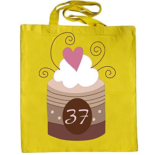 Inktastic 37th Birthday Cupcake Tote Bag Yellow