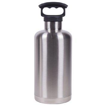 Lifeline 64 oz Black Silver Vacuum Insulated Tank Growler Stainless Steel