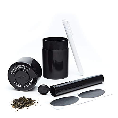 KEEP IT FRESH Sealed Storage Container UV Protect Smell Proof Best Vacuum Jar To Preserve Herbs Coffee Keep Goods Fresh Airtight OdorProof Black Set - BONUS King Size Doob Tube Labels Marker