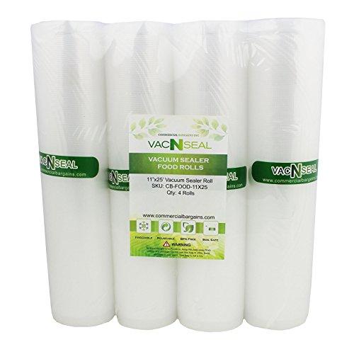 4 Vacuum Food Sealer Saver Storage Bag Rolls 11 Wide 25 FT For Foodsaver Sous Vide Freezer