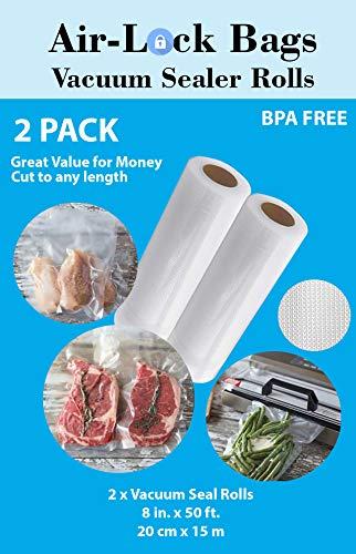 Air-Lock Bags Vacuum Seal Rolls 2 pack 8 x 50  Clear BPA-Free Sealer Bags for Foodsaver 8inch 50foot