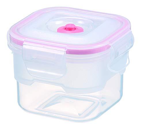 Lasting Freshness Vacuum Seal Food Storage Containers - Handheld Vacuum Food System - Quick Marinator - Square - 450ml16oz - Coral Color
