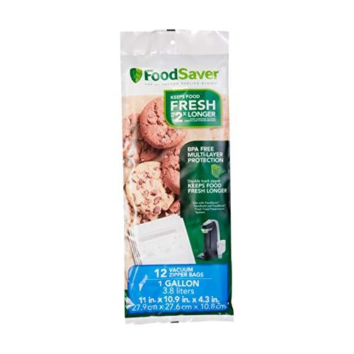 FoodSaver FSFRBZ0316-000 1-Gallon Vacuum Zipper Bags 12 Count Multi