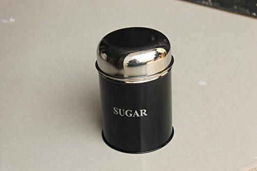 STREET CRAFT Sugar Canister Airtight Sugar Bean Container StorageGood Grips Sugar Dispenser Food Storage For Sugar Stainless Steel Jar BLACK