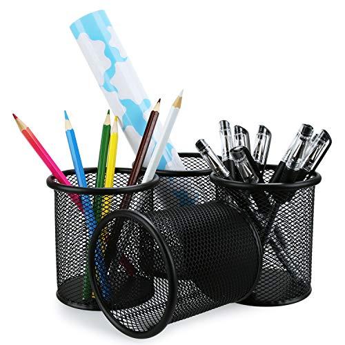 Pen Holder Mesh Pencil Holder Metal Pencil Holders Pen Organizer Black for Desk Office Pencil Holders 4 Pack