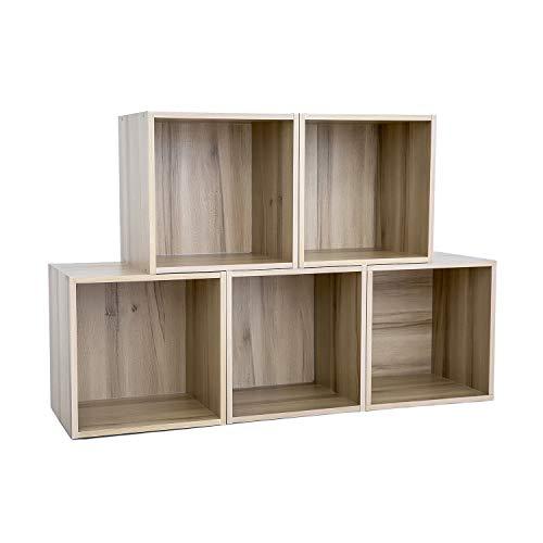 HOFOME Stackable Storage Cubes Bookcase Laminated Wood Board Closet Cabinet Open Shelf Organizer for Toy Storage Light Beige