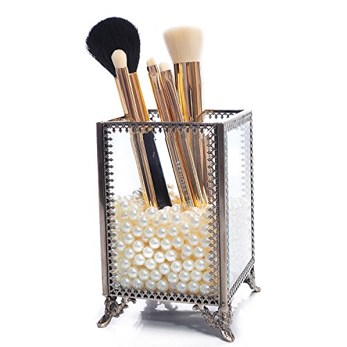 Large Mirror Glass Top Dresser Make Up Organizer JewelryComestic Display Stackable Cube 6 Drawers Set Dresser Storage for Vanity with LidBathroom Accessories Brushes Container Brushholder-small