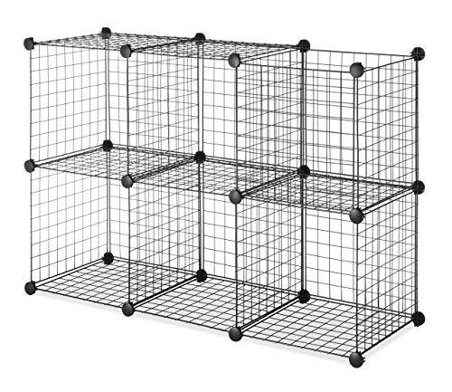 Whitmor Storage Cubes - Stackable Interlocking Wire Shelves - Black Set of 6 Renewed