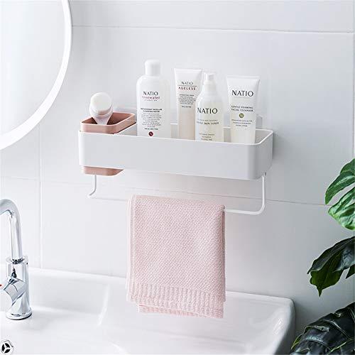 Bathroom Organizers Adhesive Shelf Storage with Towel Bar Wall Mounted Floating Shelves Corner Suction Shampoo Shower Caddy Rack Pink