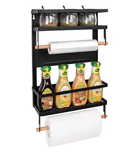 Haturi Magnetic Shelf Magnetic Paper Towel Holder Fridge Spice Rack Kitchen Refrigerator Organizer Rack with 5 Removable Hooks LargeBlack