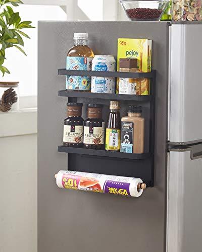 Magnetic Fridge Organizer Towel Holder Kitchen Rack Rustproof Spice Jars Rack with 2 Removable Mobile Hooks Black