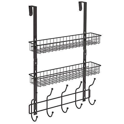 NEX Over The Door Hook Shelf Organizer 5 Hooks with 2 Baskets Storage Rack for Coats Towels