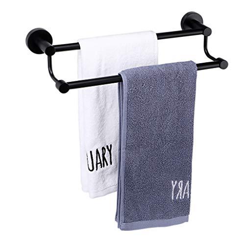SUMNACON 155 Inch 2 Bars Towel Bar Racks Contemporary Stainless Steel Bath Towel Holder Organizer with Screws Wall-Mounted Towel Hanger Holder Organizer for Bathroom Kitchen Balcony Black