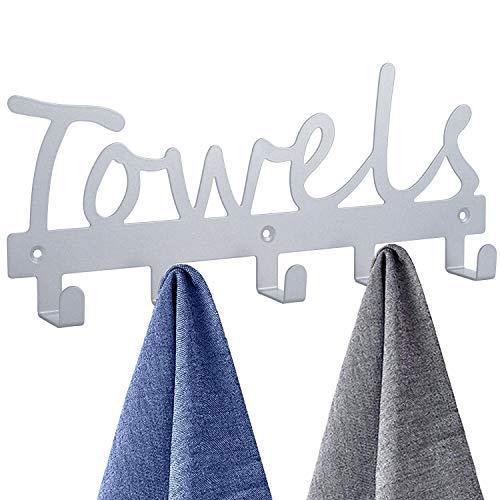 Towel Racks Wall Mount 5 HooksBathroom Hooks Towel Holder Matte Nickel Towel RacksRustproof and Waterproof for Bath Towel OrganizerBedroomKitchenLiving Room Towels ClothingKeysEasy Install