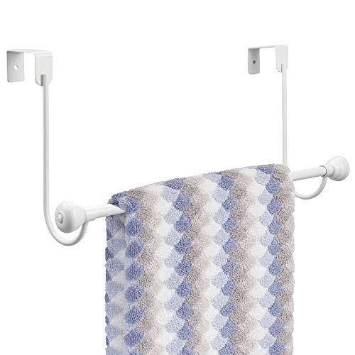 mDesign Metal Bathroom Over Shower Door Towel Rack Holder - Storage Organizer Bar for Hanging Washcloths Bath Hand Face Fingertip Towels - White with Chrome Finials