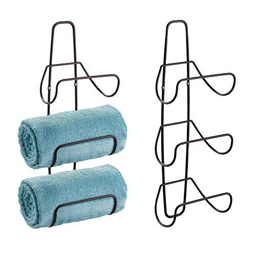 mDesign Metal Wall Mount 3 Level Bathroom Towel Rack Holder Organizer - for Storage of Towels Washcloths Hand Towels Robes - 2 Pack - Bronze