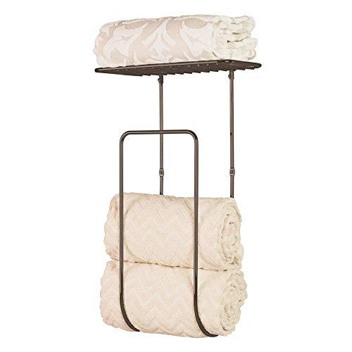 mDesign Modern Decorative Metal Wall Mount Towel Rack Holder Organizer with Shelf for Storage of Bathroom Towels Washcloths Hand Towels - Large - Bronze