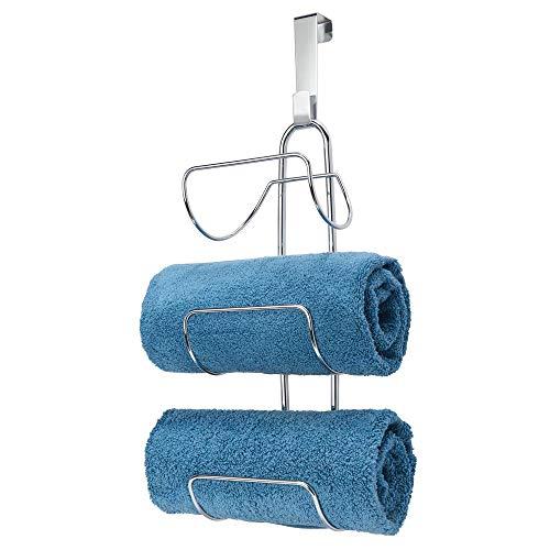 mDesign Modern Decorative Metal Wire Over Shower Door Towel Rack Holder Organizer - for Storage of Bathroom Towels Washcloths Hand Towels - 3 Tiers - Chrome