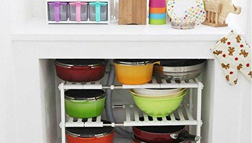 Under Sink Expandable Shelf Organizer 2 Tier Adjustable Under Sink Shelf Storage Kitchen Organizer - expand from 19 to 27 inches Under Sink Shelf