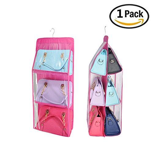 Yamde dust Hanging 6 Clear Pocket Closet Handbag Holder Shoes Save Space Organizer Roseo