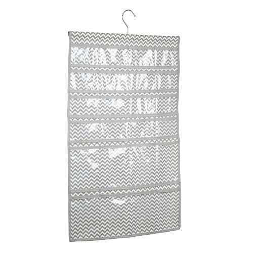 InterDesign Chevron Fabric Storage Hanging Jewelry closet Organizer Hanger -48 Pockets TaupeNatural