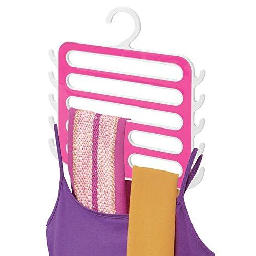 mDesign Closet Organizer Hanger for Camisoles Scarves Pashminas Accessories - WhitePink