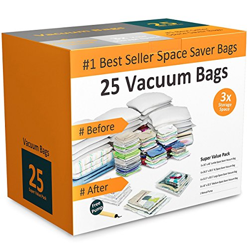 Everyday Home 83-79 Vacuum Storage Bags-Space Saving Air Tight Compression-Shrink Down Closet Clutter Store and Organize Clothes Linens Seasonal Items 25 Set