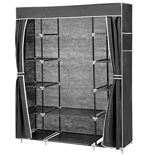 Fashine DIY Portable Folding Mobile Simple Wardrobe Closet Storage Hanger 133 X 44 X170 cm Black