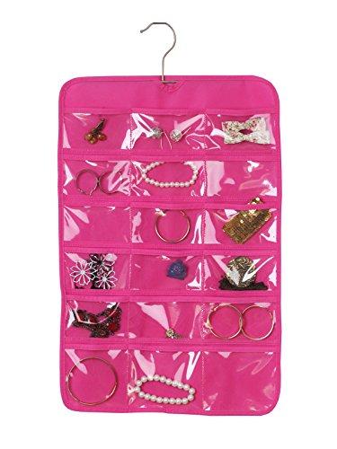 Jewelry Closet Display Hanger Organizer Clear Pockets Cotton Storage Hanger Hook Pink