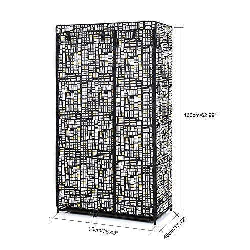 Portable Clothes Wardrobe Cabinet Non-Woven Closet Storage Hanger Rack with Shelves