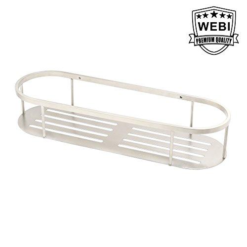 WEBI 157 Sturdy Stainless Steel 304 Round Rectangular Storage Shelf Shower Basket Hanging Organizer for Bathroom Kitchen Bedroom Garage Storage Room Brushed Finish