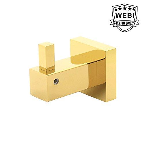 WEBI Solid Single Coat Hooks Brass Robe Towel Hangers for Bathroom Bedroom Kitchen Garage Storage Room Square Design Polished Gold Finish