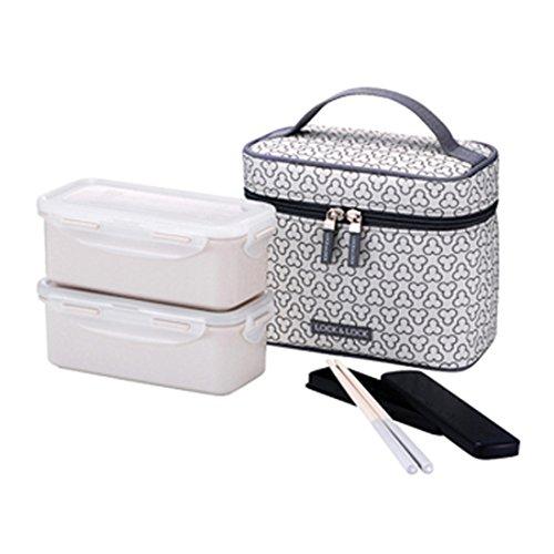 LocknLock Clover Jumbo Bento Lunch Box Set with Bag Chopsticks Ivory