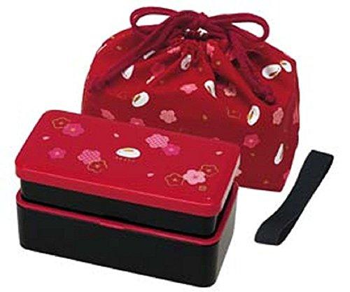 Japanese Traditional Rabbit Blossom Bento Box Set - Square 2 Tier Bento Box Rice Ball Press Bento Bag Red