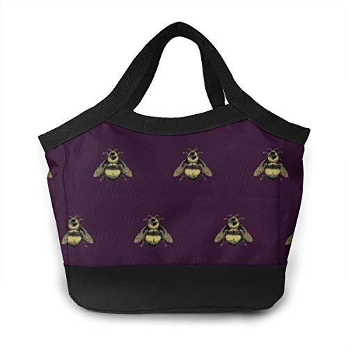 Lunch Box Bee Bento Lunch Bag For Men Women Adults Work School Picnic Beach Lunch Holder Polyester Handbag Reusable Drinks Holder