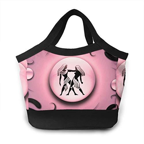 Lunch Box Gemini Pink Bento Lunch Bag For Men Women Adults Work School Picnic Beach Lunch Holder Polyester Handbag Reusable Drinks Holder