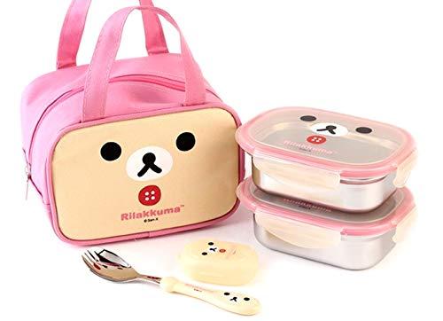 Stainless Steel Lunch Box with Bag Spork for Toddler Kids Set 2- Lunch Boxes Bag SpoonFork BentoKorilakkuma