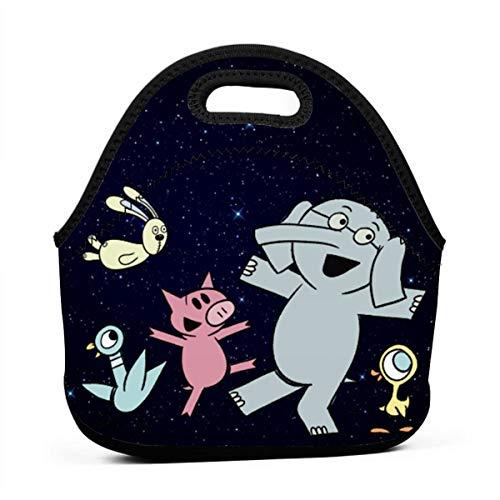 Zebraprime E-le-Phant and Pig-gie Portable Bento Lunchbox Bag Multi-Function Zipper Bag for School Office Handbag Children Kids