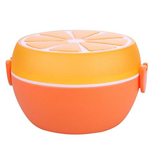 Whitelotous Kids Cute Orange Lemon Shape Portable Plastic Lunch Box Bento Food Container Orange