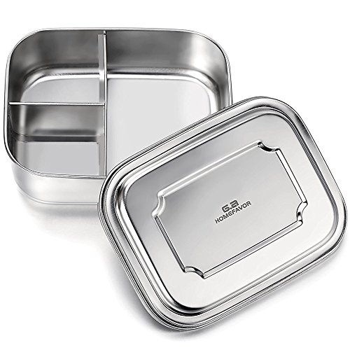 GA Homefavor Stainless Steel Bento Lunch Box 33 Ozs 3-Compartment Pefect for Adults and Kids