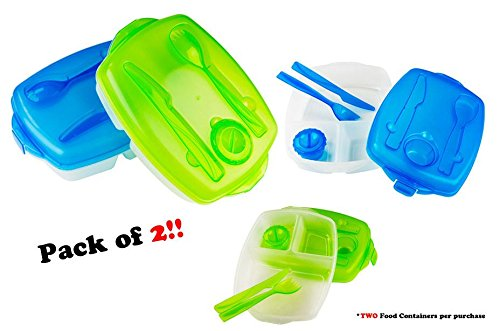 Pack of 2 Plastic Bento Lunch Box Set Food Storage Containers with Utensils