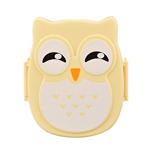 Lunch Food BoxHP95TM Cute Owl Lunch Box Food Container Storage Box Portable Bento Box for Kids Girls Students Yellow