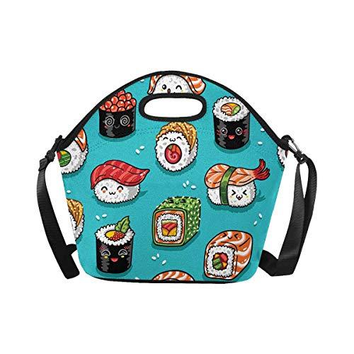 InterestPrint Large Insulated Neoprene Lunch Bag Cartoon Sushi Cute Lunchbox Handbag with Shoulder Strap