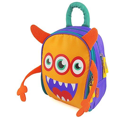 Insulated Kids Lunch Box for School BoysGirls with Dual Compartments Zebrum Kindergarten Lunch Bag Cooler Cute Cartoon Monster OrangePurple