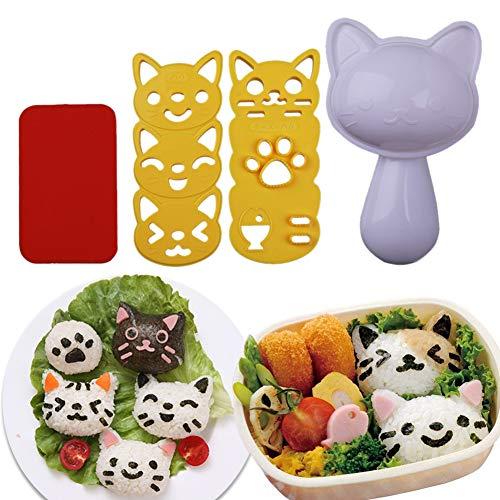 Bento Sushi Mold Rice Ball Mold Cartoon Cat Pattern Sushi Bento Kitchen Rice Decor Kits Sandwich DIY Kitchen Tools for Baby Kids Meal